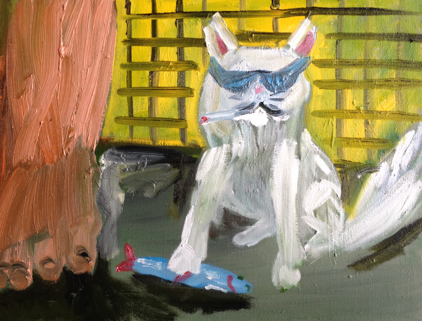 Kalle Leino - Coolest cat 47 x 60,5 cm, oil o canvas, 2017