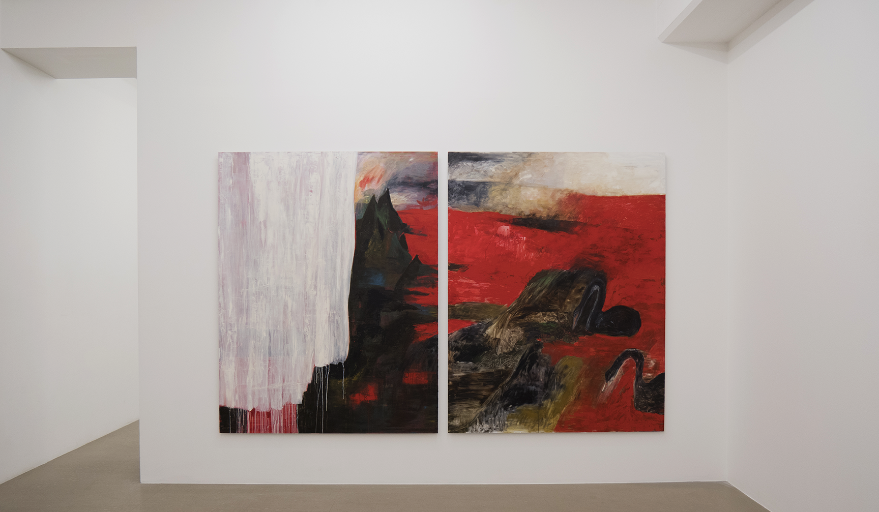Karin Lind - In Between Peaks, oil on aluminum laminate, diptych, 180x280 cm, 2017
