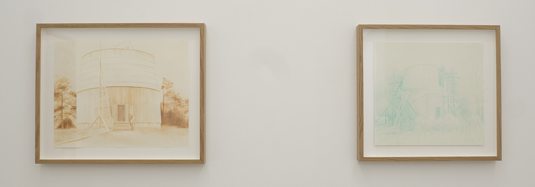 Therese Enström, Left: Mars Hill, water color and rust o paper, 47x57 cm. right: PL, ink on paper, 46x49 cm
