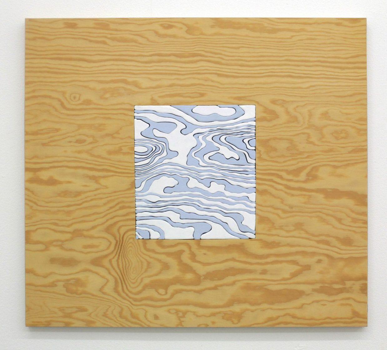 within within (blå) 60x66cm 2018 Material vaxad träpanel vinylfärg