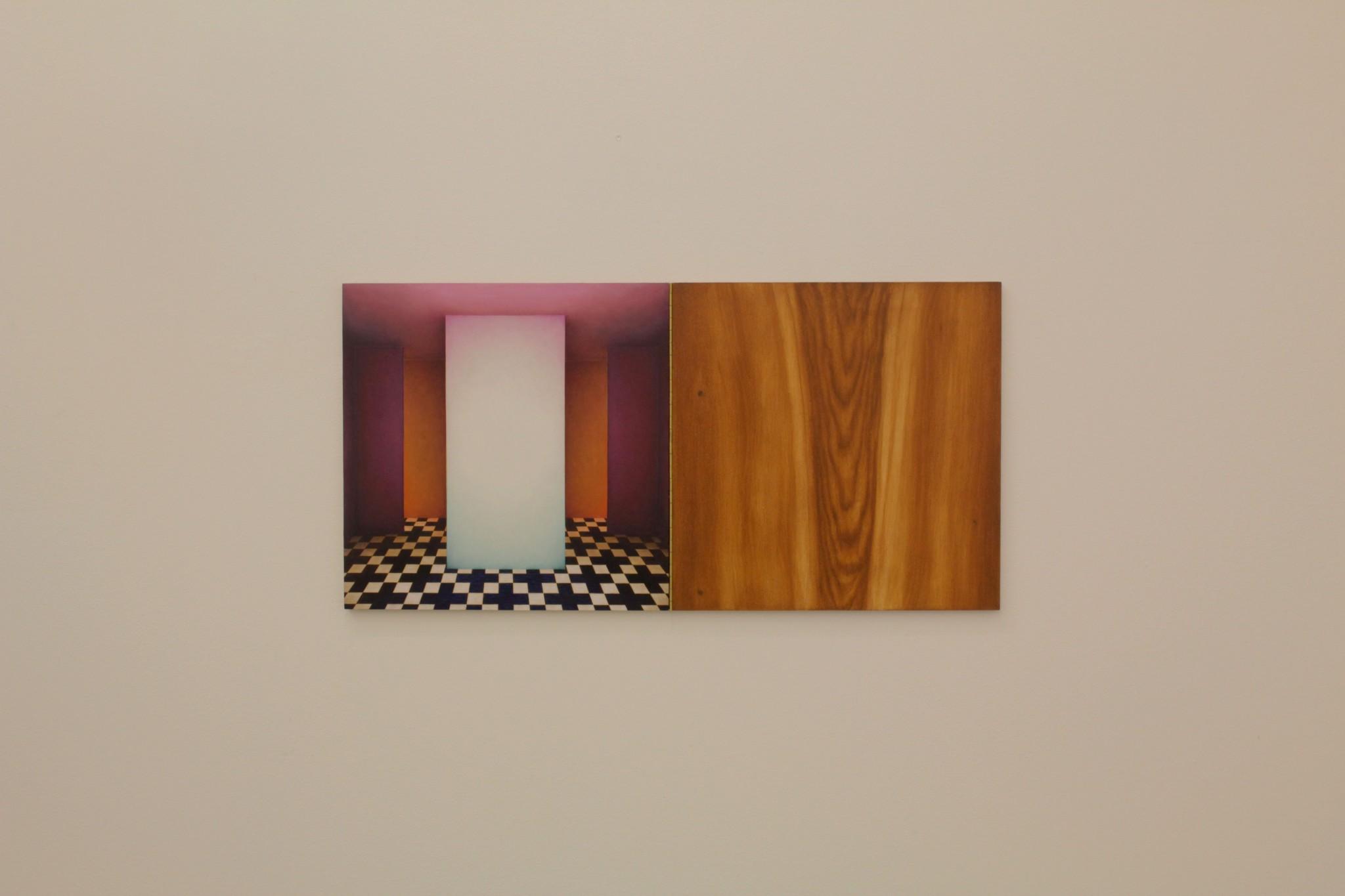 cabinet III, ca 40x80, olja på pannå, pianogångjärn, 2018