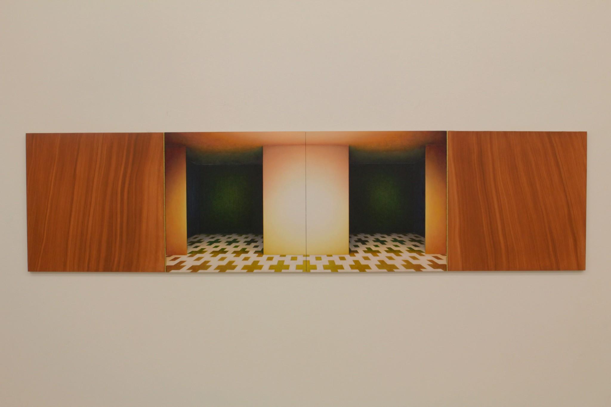 cabinet I, ca 40x160, olja på pannå, pianogångjärn, 2018