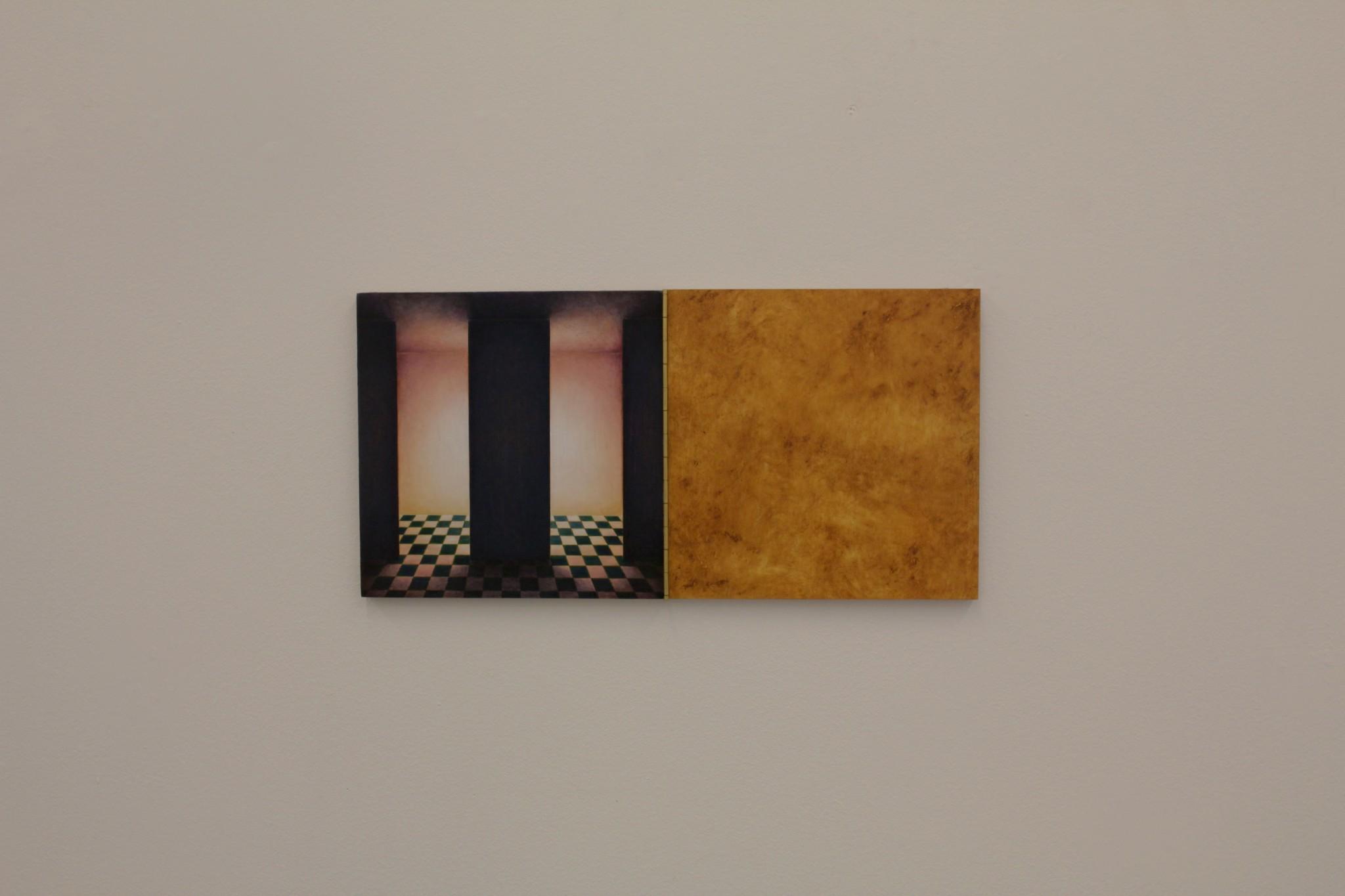 cabinet II, ca 20x40, olja på pannå, pianogångjärn, 2018