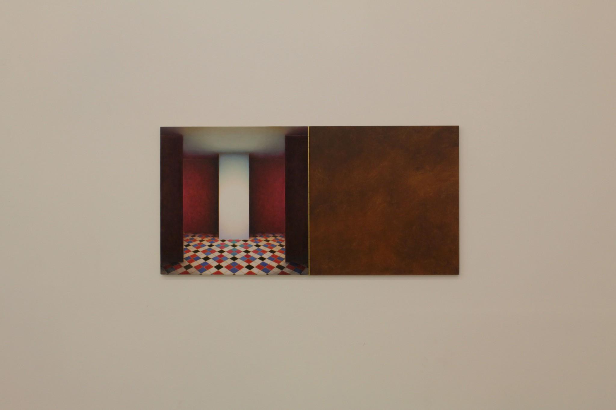 cabinet VI, ca 40x80, olja på pannå, pianogångjärn, 2018