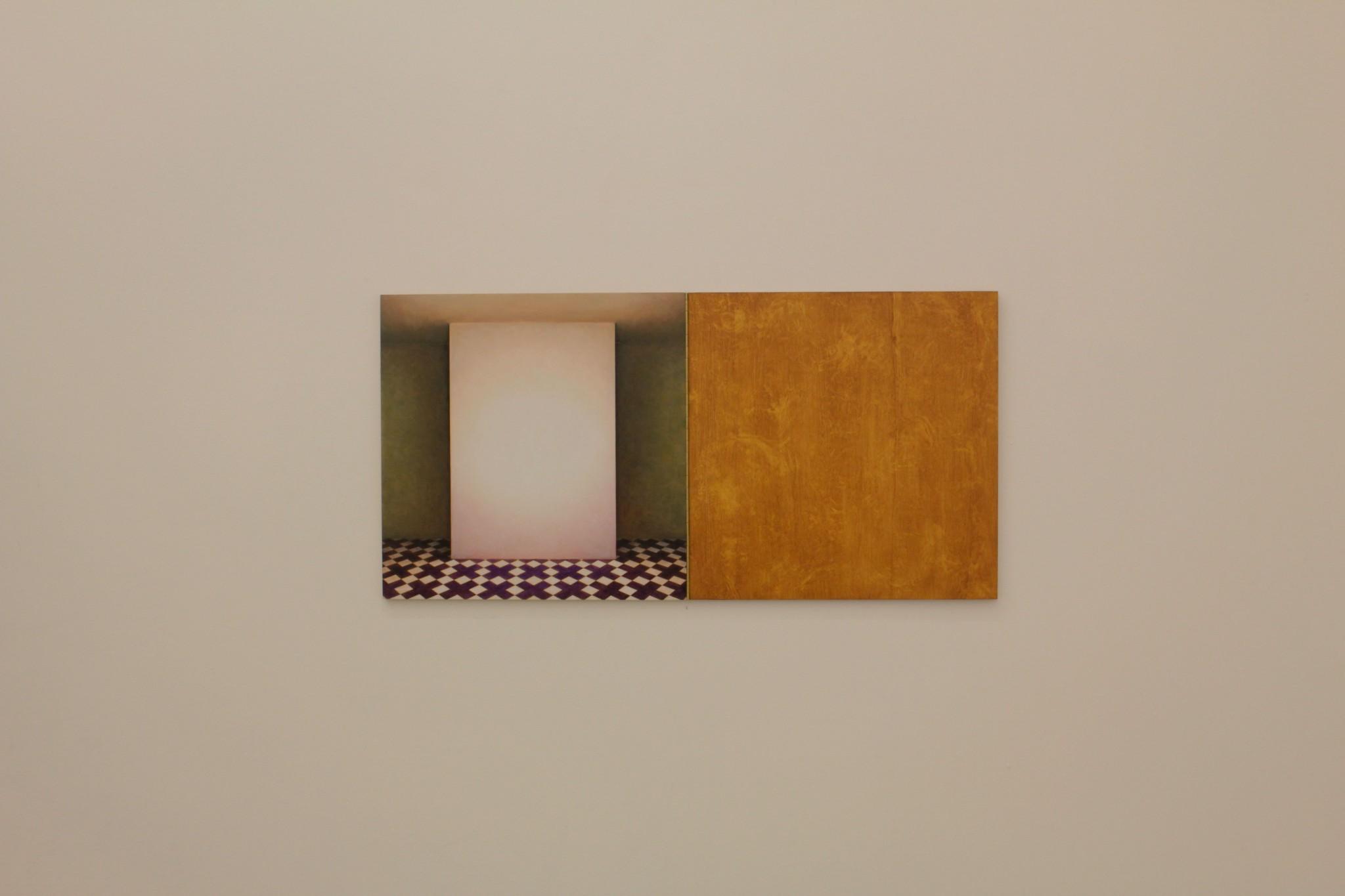 cabinet VII, ca 40x80, olja på pannå, pianogångjärn, 2018
