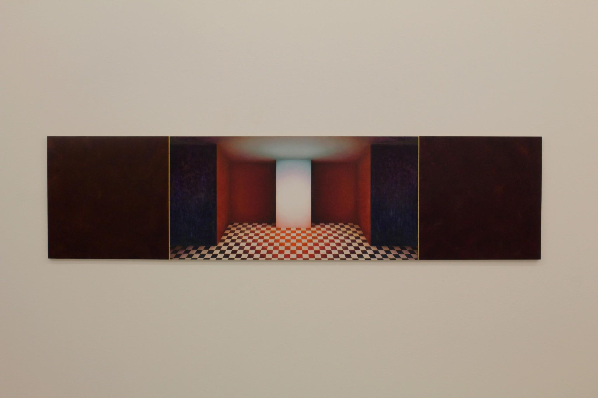 cabinet VIII, ca 40x160, olja på pannå, pianogångjärn, 2018