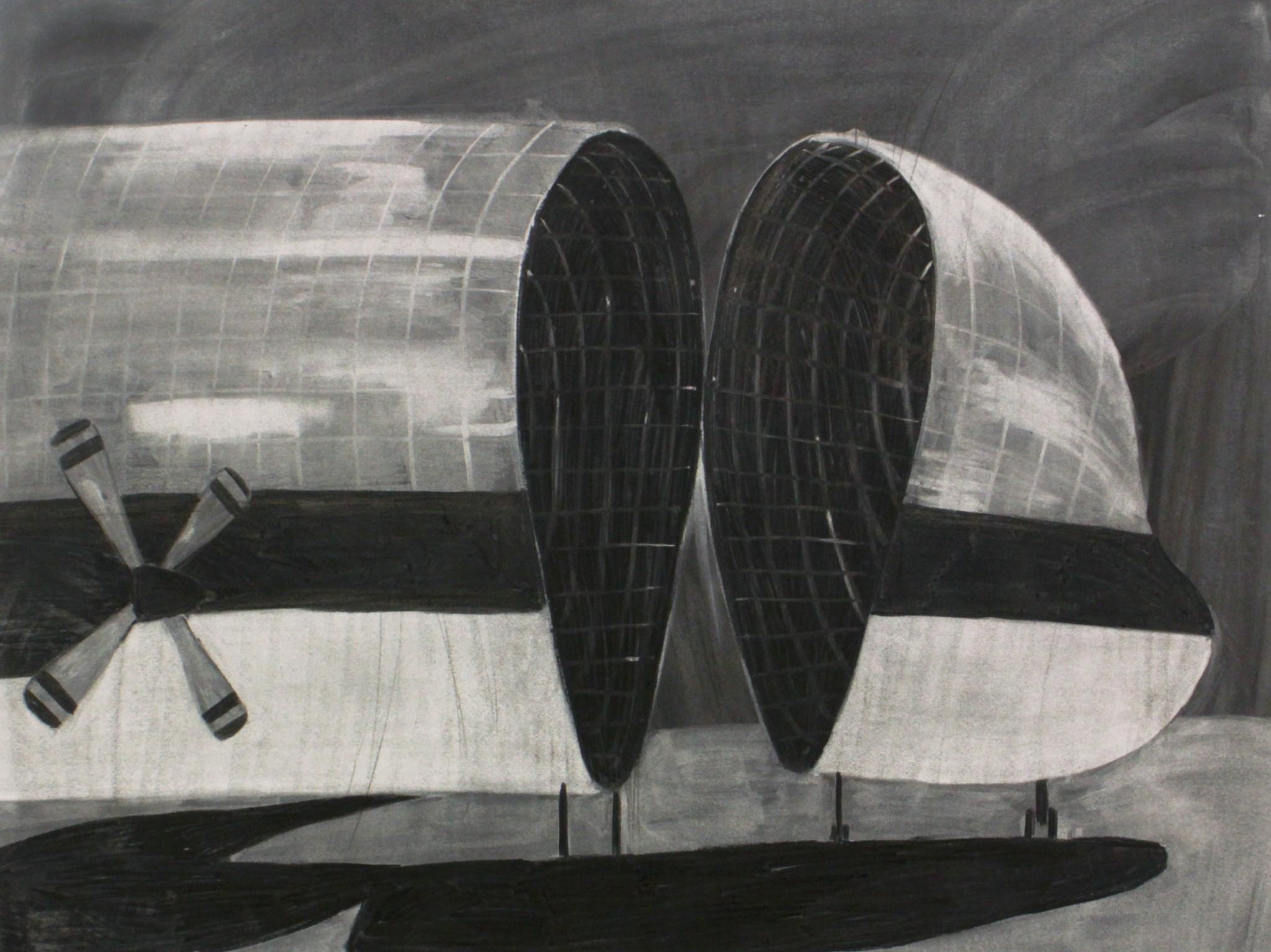 Hannaleena Heiska Structure V, 2018 charcoal on paper 89,5 x 107,5 cm