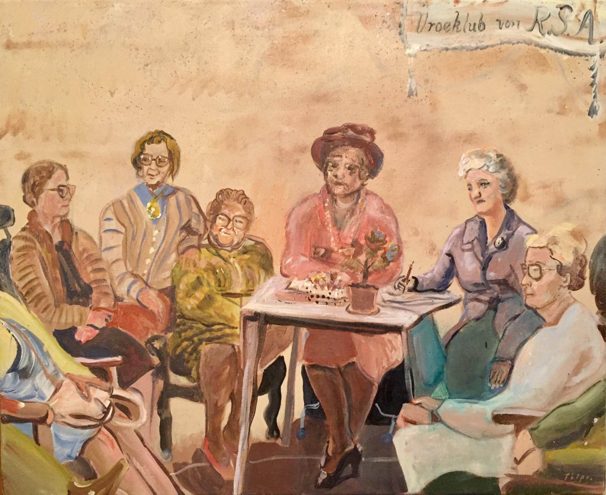 Vroeklub von R.S.A. 50x61 cm akryl på duk, 2018