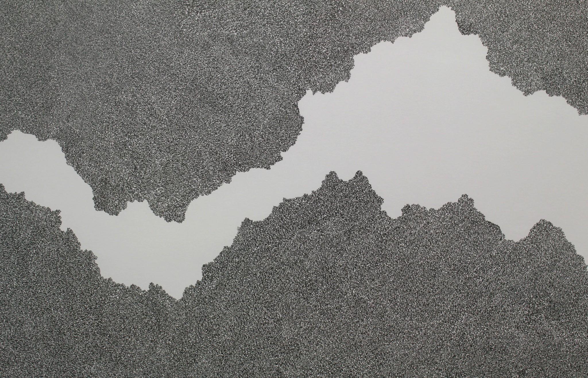 DETALJ-Between-two-lines-svart-75x110cm-2018-Material-Tusch-på-papperdetalj