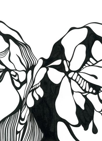 Ur-serien-Känslan-av-mörker-Ett-bra-möte-tusch-på-papper-185x135cm-2010