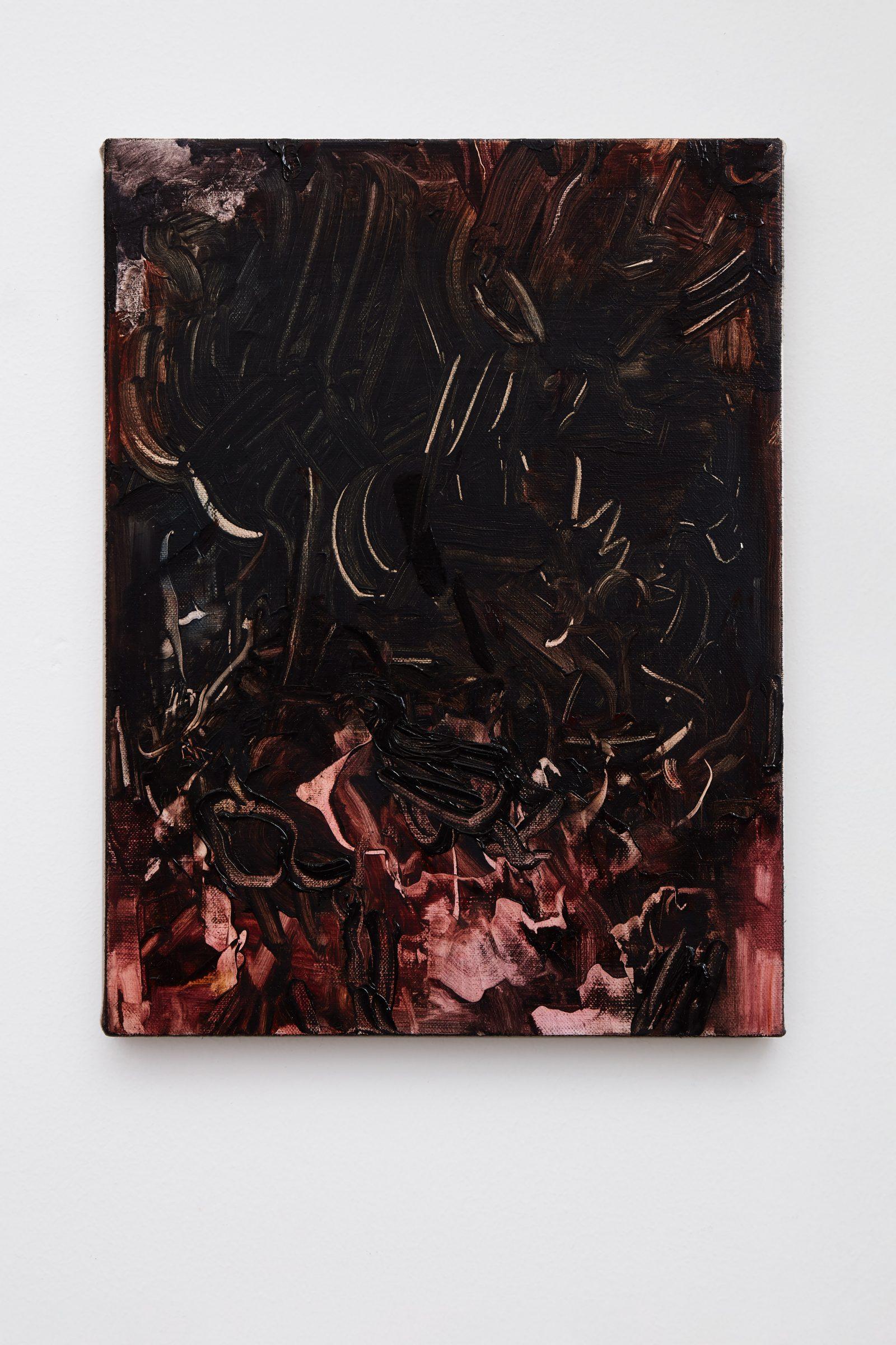 Soleil noir olja på duk, 32x24 cm, 2019
