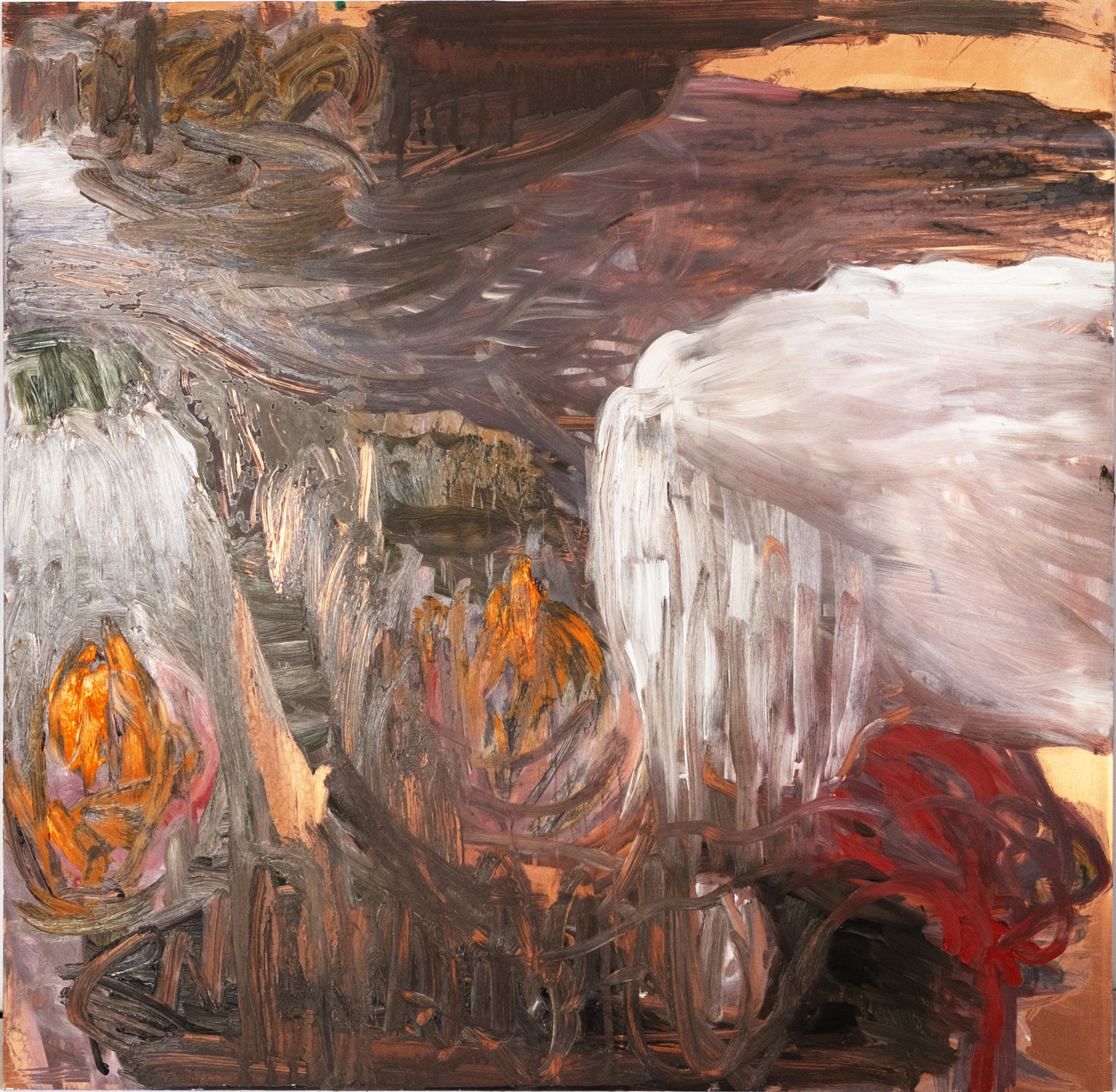Flow, olja på koppar, 60x60 cm, 2020