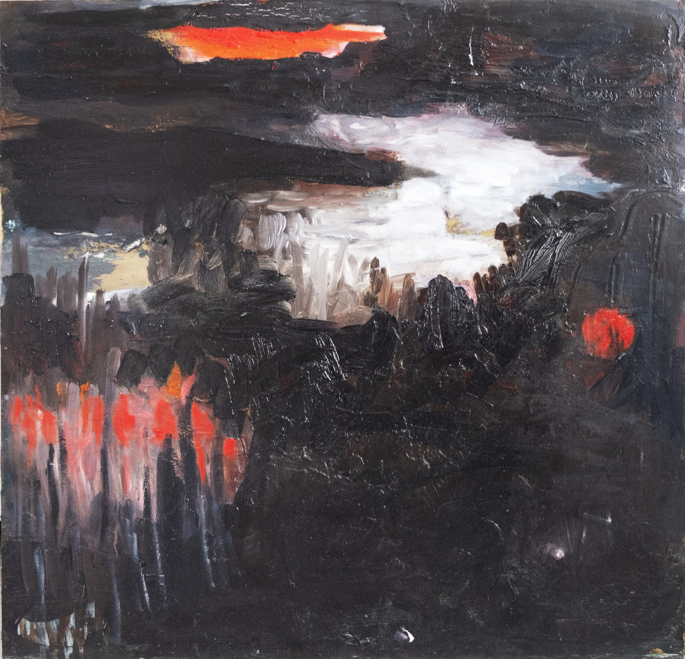 Night, olja på mässing, 60x60 cm, 2019